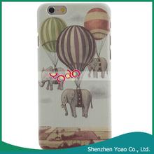Globo& elefantes patrón de plástico duro casos de teléfono celular para el iphone 6 sublimación de teléfono de la tapa