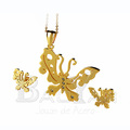 mariposa juegos dorado de joyeria de acero inoxidable