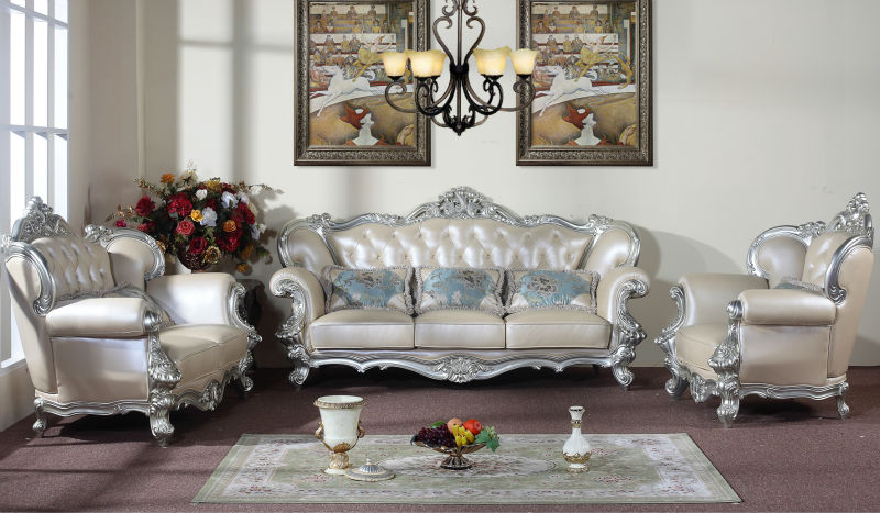 Silver edge rice white genuine leather sofa sets living room furniture