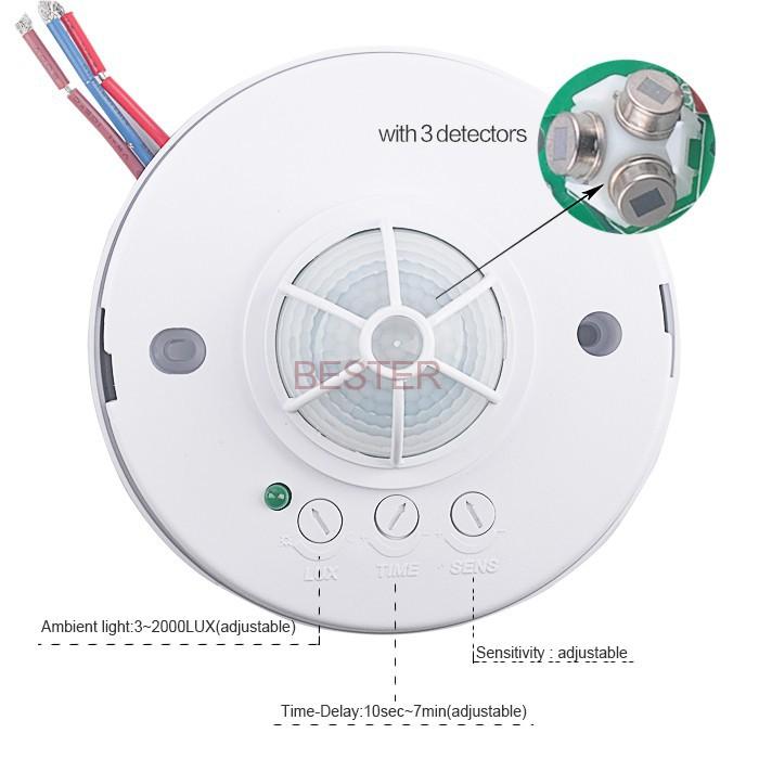 360 ceiling pir sensor light switch3 detectors high sensitive pir high quality infrared motion sensor switch for led light bs036b bs036b bs036b aloadofball Choice Image