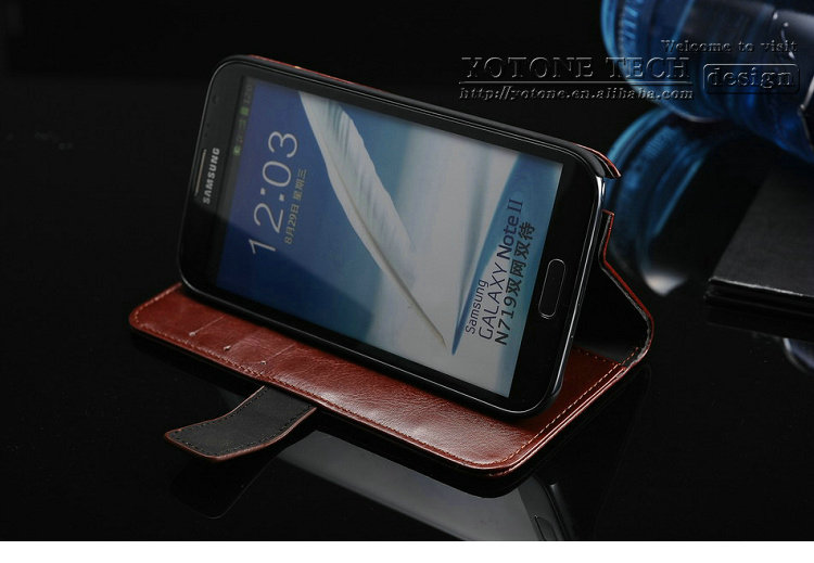 High quality brand china wholesale designer cheap waterproof leather PU phone case for samsung galaxy note 2 N7100 smartphone
