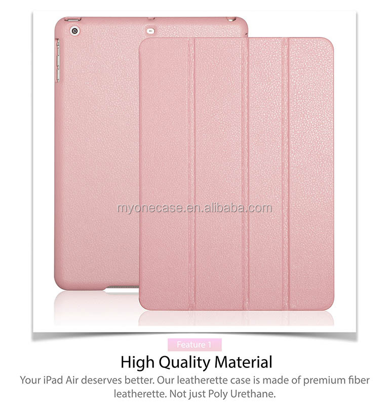 2014 New design for ipad air folded leather case Facoty OEM ipad 5 case