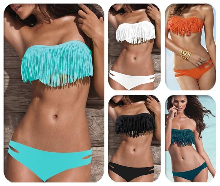 Hot-Sale-New-Swimwear-Women-Padded-Boho-Fringe-Bandeau-Bikini-Set-Free-shipping-Lady-Swimsuits-Sport