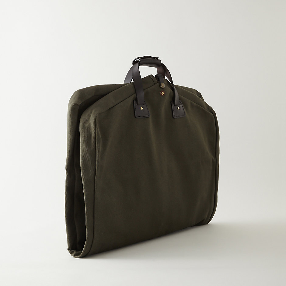 water repellent cotton suit cover travel garment bag with leather trim