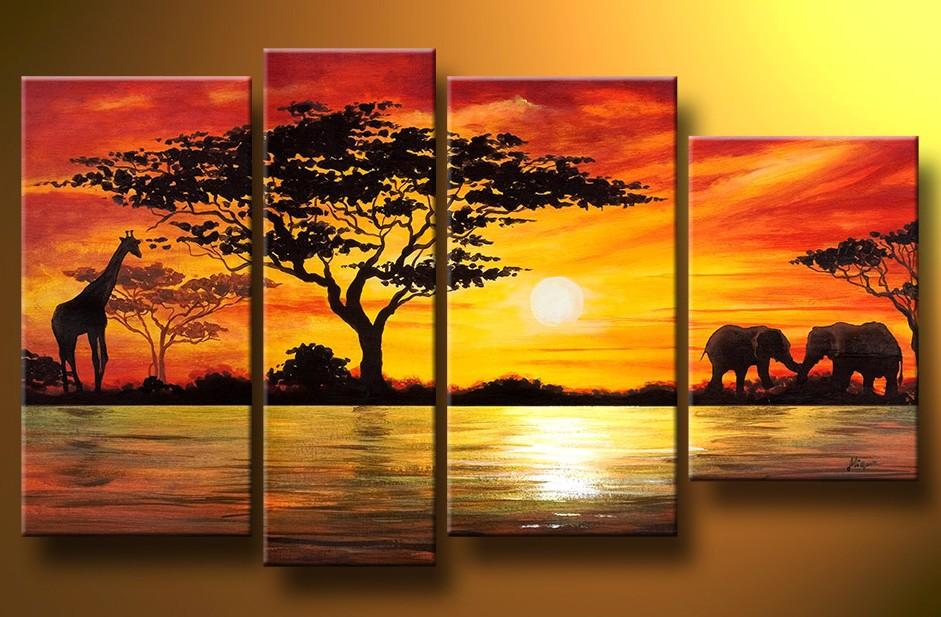 Residence Ornament African Elephant Portray Wall Decor Giraffe ...