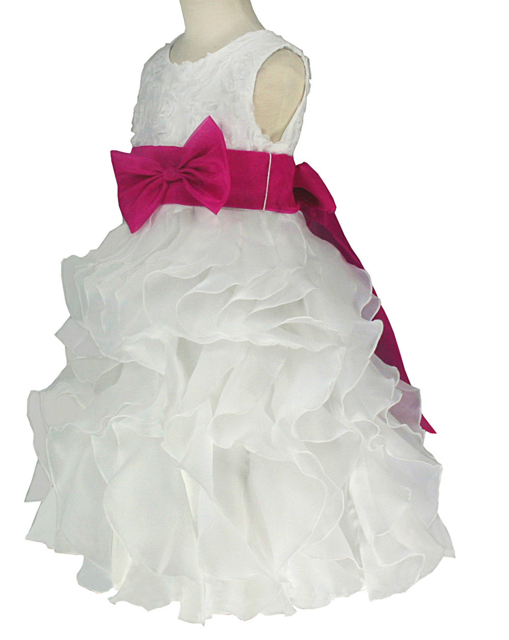 Детское платье Victoria Kids ivory & fuchsia organza pageant flower girl dress 2 4 6 8 10 12 years