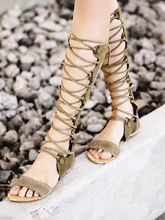 2014 Women Sandals Cutout Boots Knee High Flats Lace Up Gladiator