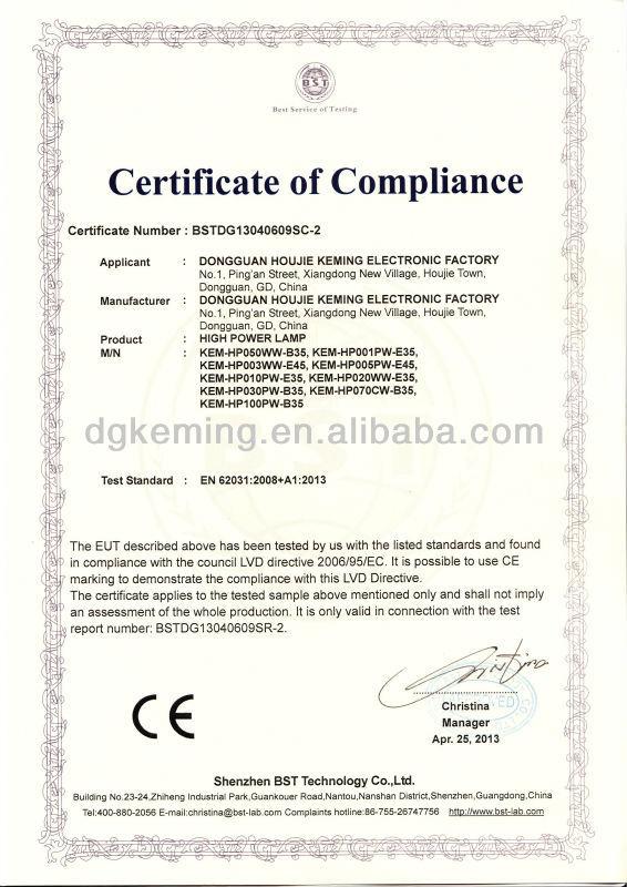 certificate CE