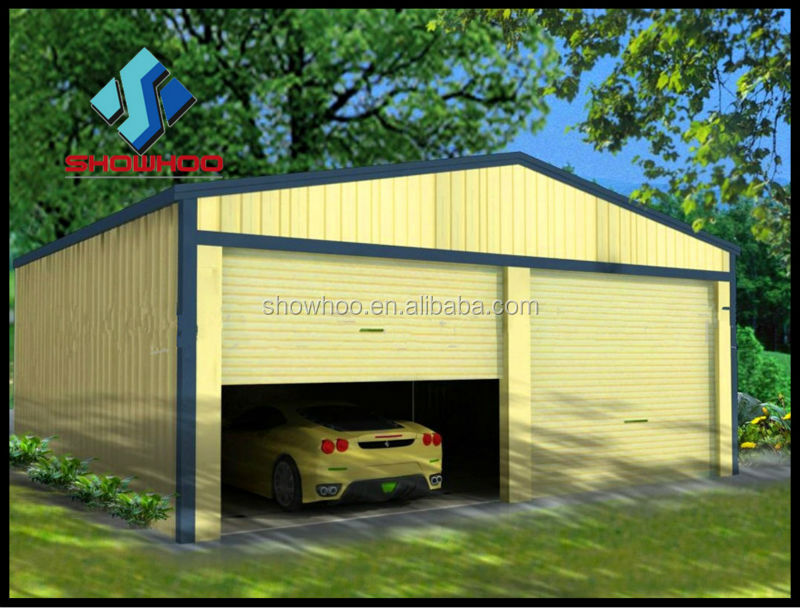 Portable Garage Metal Roof : Portable flat roof steel structure car garage for two