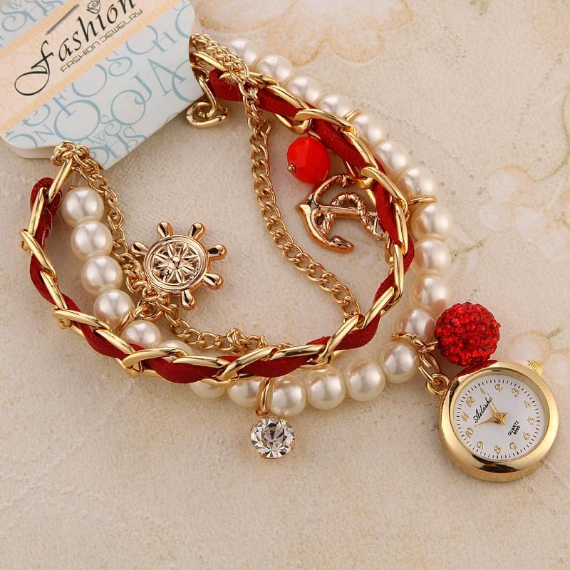 Exclusive Pearl Rhinestone Hand Chain Bracelet Ladies Quartz Wrist ...