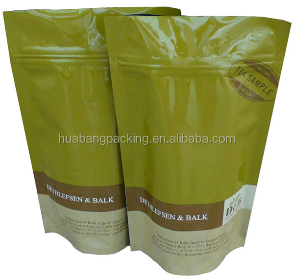 Stand Up Tea Bag Packaging With Zipper