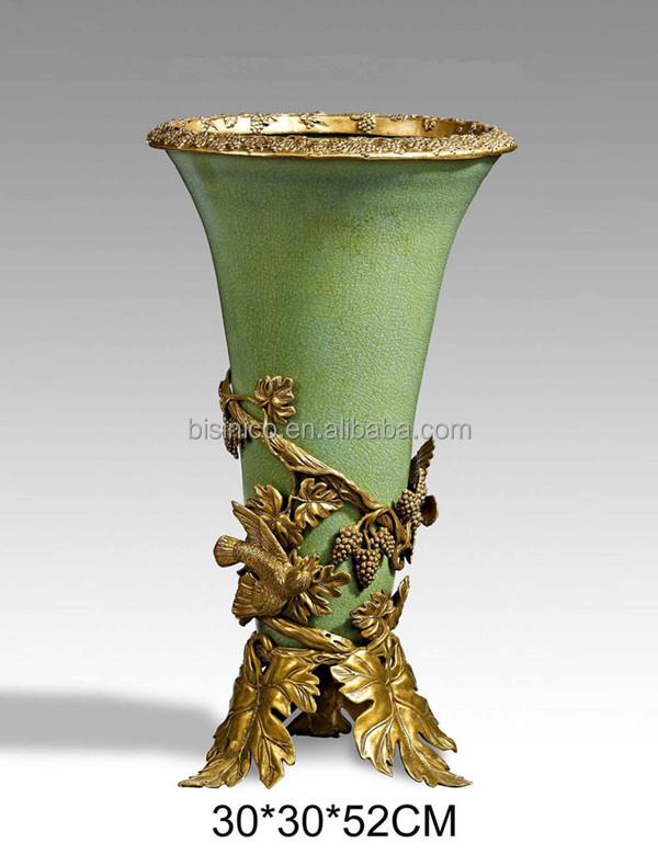 Hand Painted Porcelain Vase W Brass Flower Pedestalenamel Porcelain
