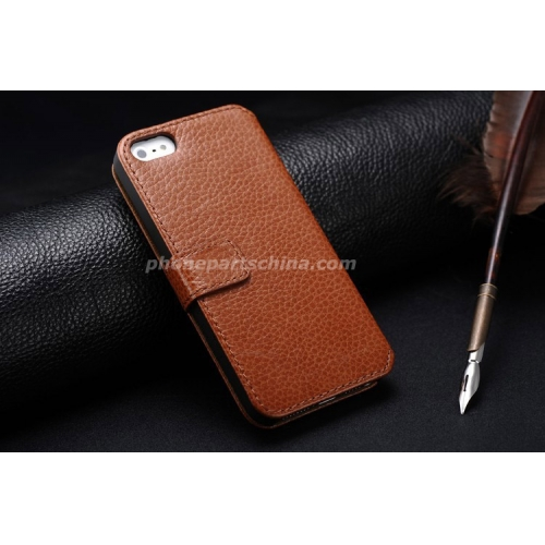 2014 best seller real mobile phone leather case for iphone 4, wallet mobile phone leather case for iphone 4