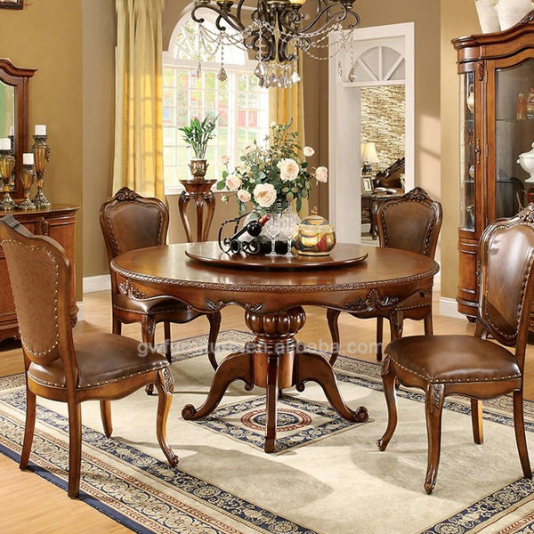 Italian Style Dining Room FurnitureHand Carved Wood Dining Table - Wooden dining room table with 6 chairs