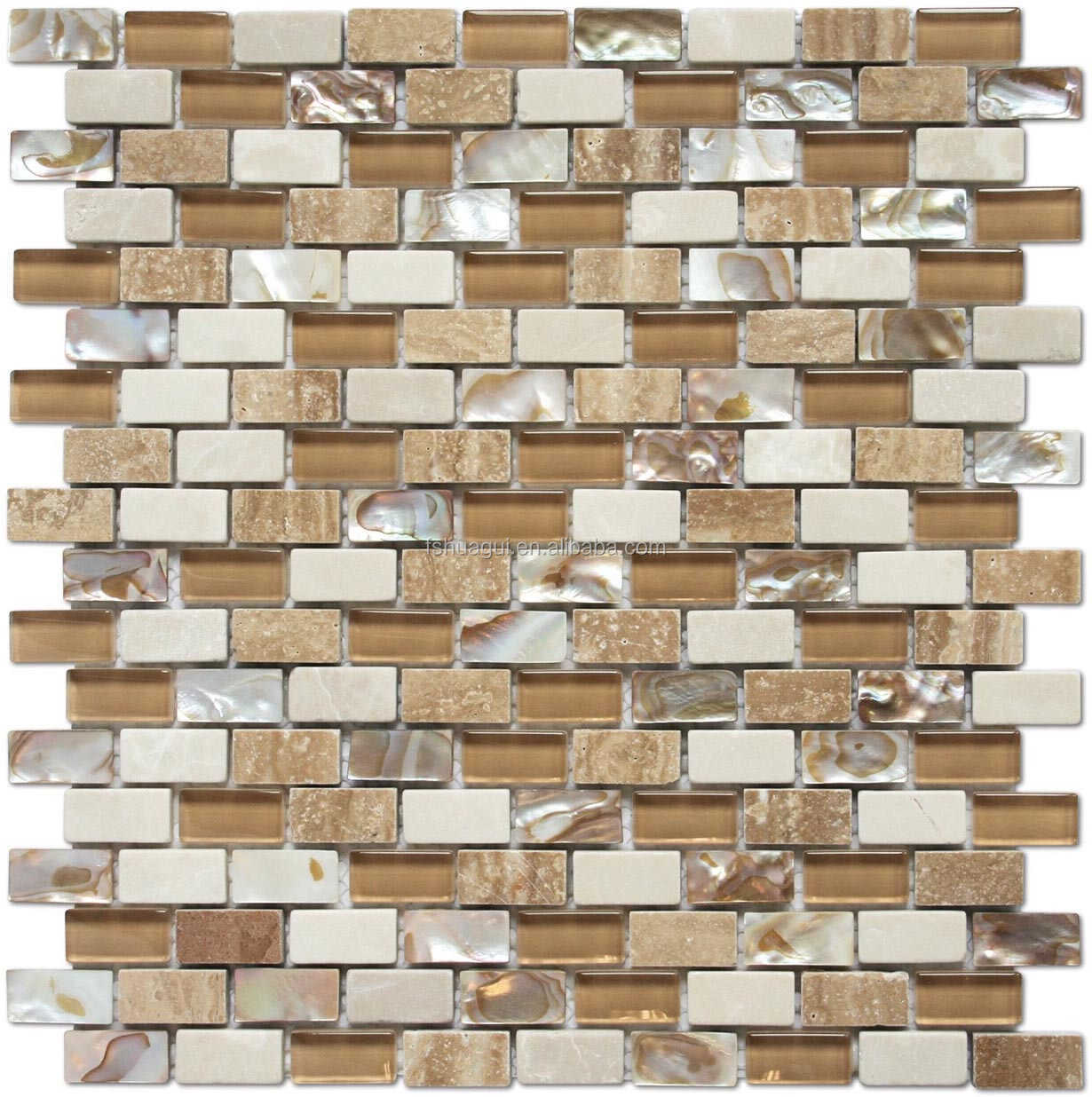 Wholesale mix color brown beige shell marble glass mosaic for Cocina color marmol beige