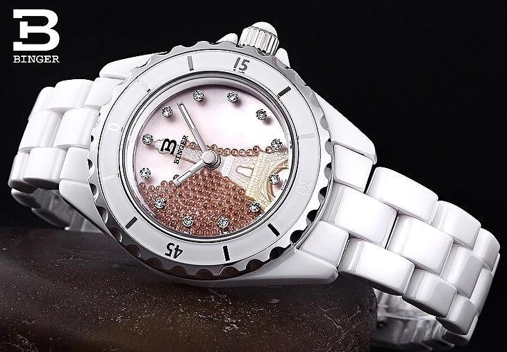 Бингер Элегантный Shell Наберите Наручные Часы Популярные Платье Quartzs Часов Часы Часы Рекламные Лучший Бренд Резьба Эйфелева Башня часы