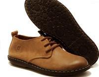 Британский стиль ретро верблюжьих подлинной дышащей обуви. Туфли мужские