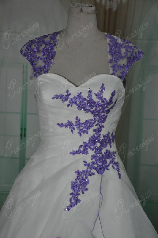 Purple And Ivory Wedding Dresses : Orw oumeiya removable sleeves organza ivory and purple
