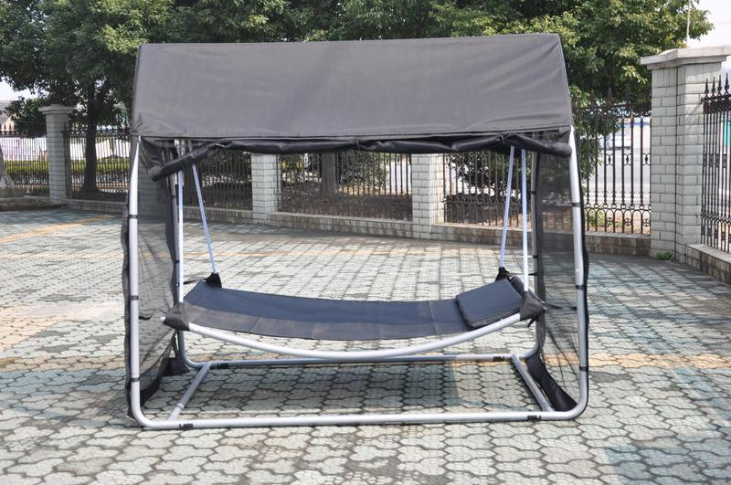 Hammock swing bed with mosquito net sleeping free standing for Net hammock bed