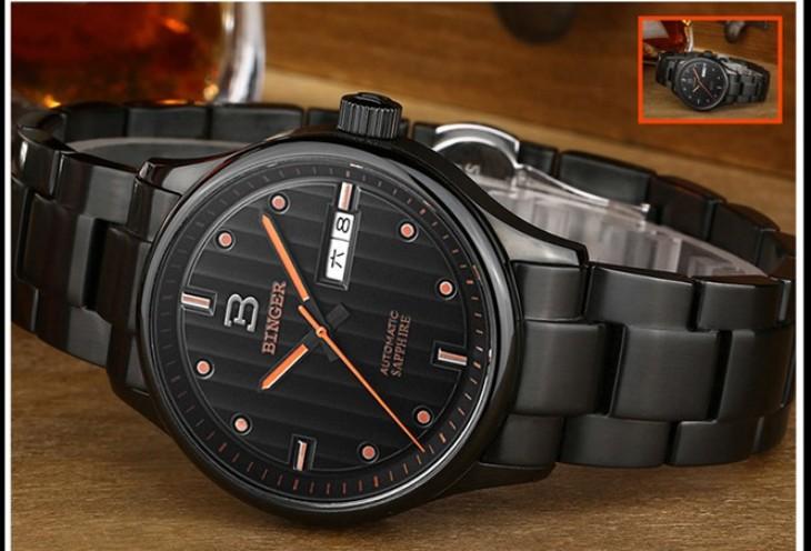 Дизайн Последнее Мужчины Военно Япония Движение Часы Аналоговые Световой Дисплей Спортивные Часы Люксовый Бренд Binger Водонепроницаемые Наручные Часы