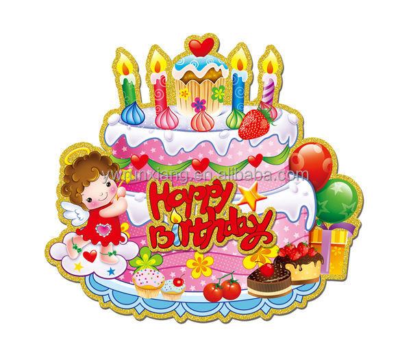 De papel 3d feliz cumpleaños pegatinas de brillo, pegatinas de ...
