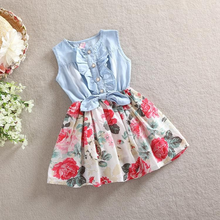 HT1AEOrFKpcXXagOFbXB - Belababy Baby Girl Dress 2018 Summer Children Sleeveless Denim Floral Dresses With Button Kids Princess Summer Dresses For Girls