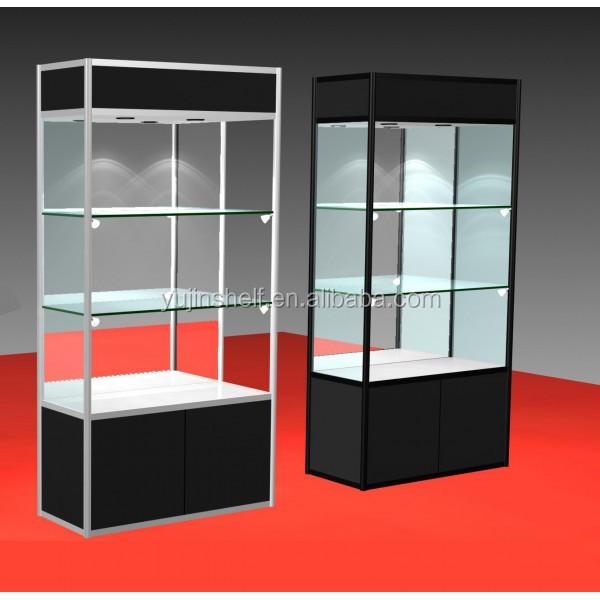 블랙 티타늄과 강화 유리 주도 조명 유리 선반-쇼케이스 -상품 ID ...