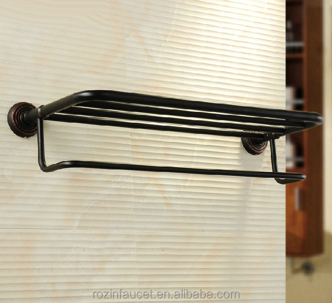 Wholesale Oil Rubbed Bronze Bathroom Towel Shelf Wall Mount Rack With A Single Towel Bar