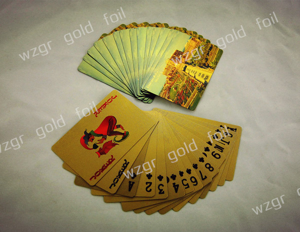 gold foil poker cards with new wooden box