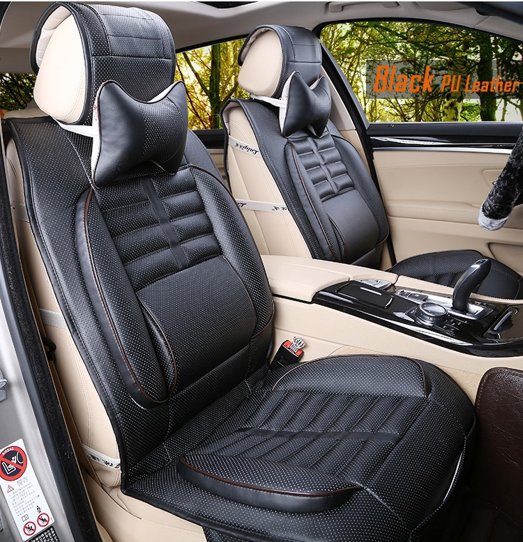 Universal Car Seat Cover PU Leather Auto Cushion 2 Front
