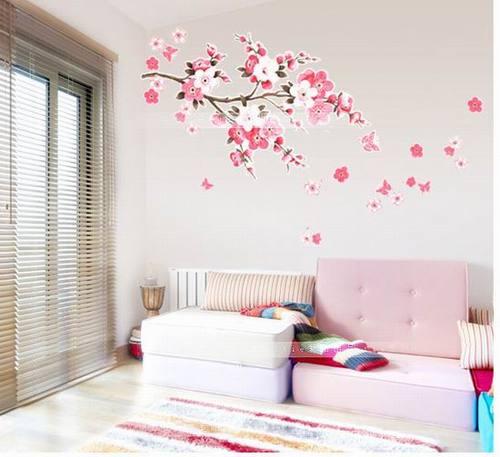 Cerezo japones dibujo pared imagui for Vinilos de dormitorios
