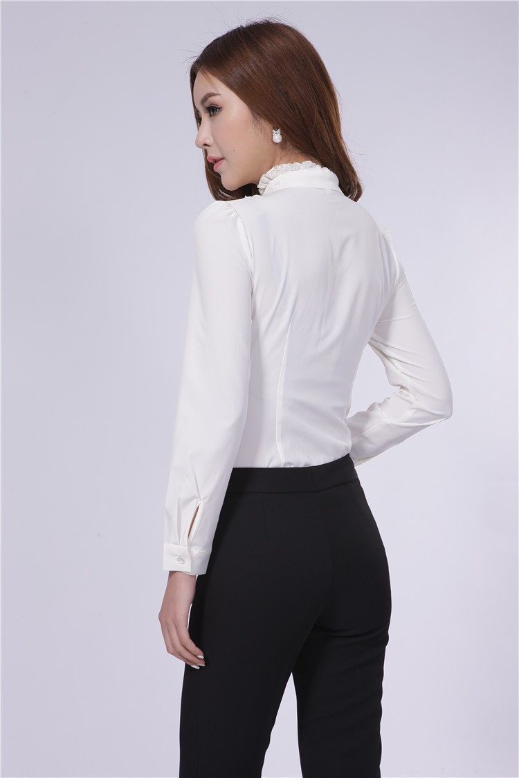 White Ladies Work Blouses - Long Sleeved Blouse