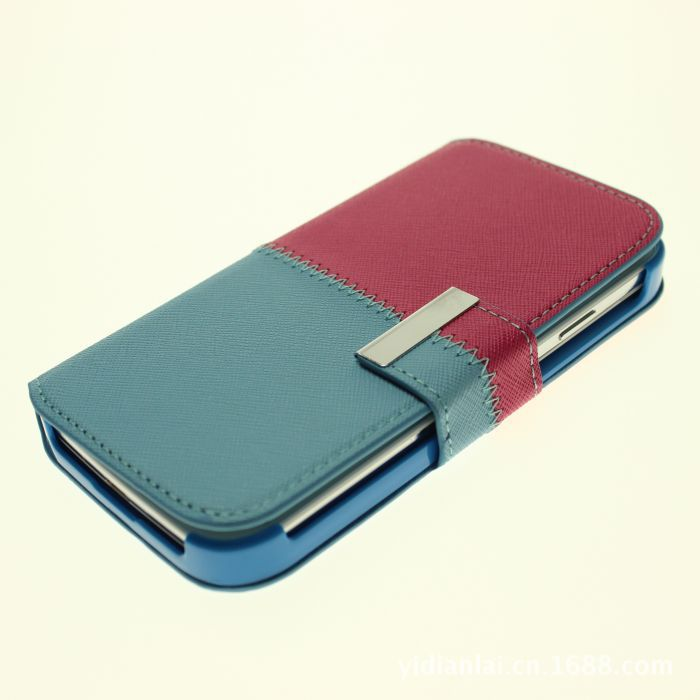 Wholesale Double Colors Design PU Leather Phone Case For Galaxy S4.