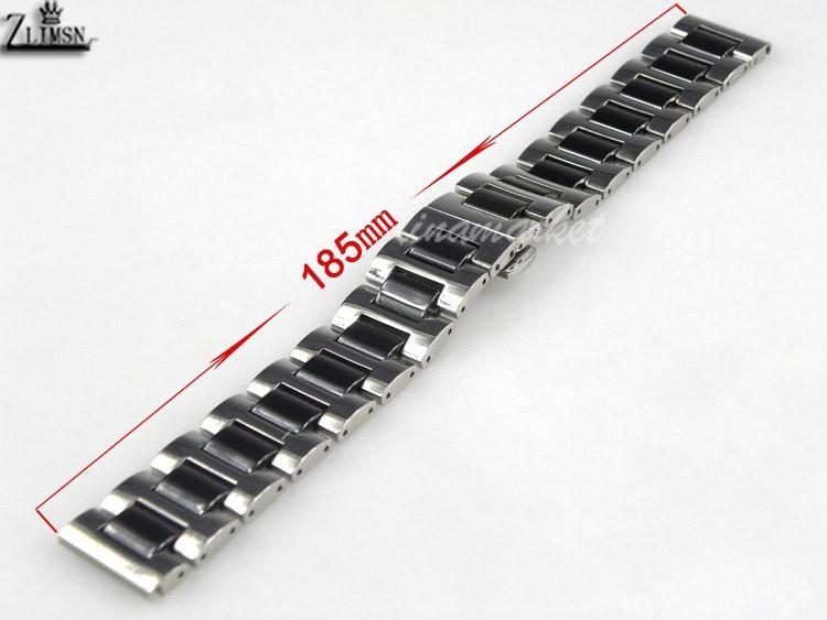 20 мм новый высокого качества из нержавеющей стали и черной керамики часы полос Браслеты s25