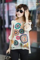 Женские блузки и Рубашки Summer women blouse super good texture, back pleats, large size, retro print chiffon shirt, XXXL XXXXL