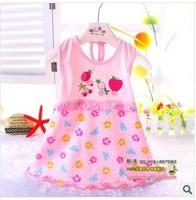 новые детские платья для девочек печати младенческой Хлопок Одежда без рукавов платье летняя одежда + вышивка 0-2 года