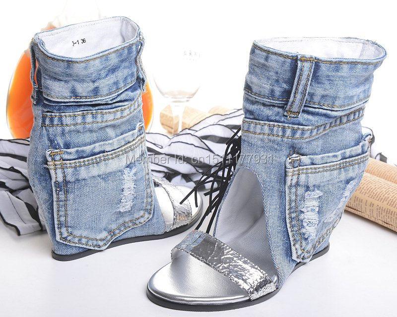 Сапоги летние джинсовые