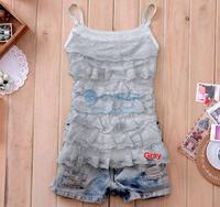 Женский топ Korea Women's Girls Sweet Blouse Vest Halter Mini Shirt Sleeveless Tiered Lace Tank Top 5580