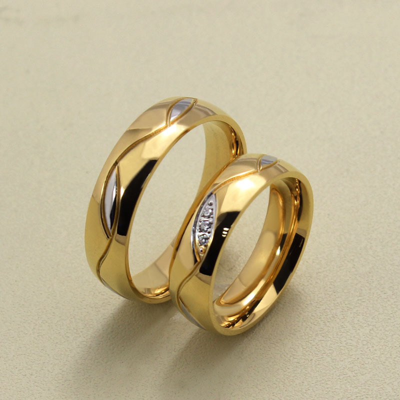Wholesale Fashion Cz Diamond Couple Rings For Men Women 18k Gold Plated  Stainless Steel Wedding Ring Pair Fine Jewelry Anillos Gold Rings Eternity  Rings ...