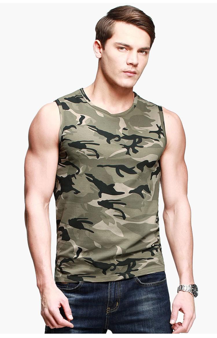 Горячая продажа мужская Новая Мода Slim-fit футболка Камуфляж, армия Стиль рукавов Повседневная Хлопок Майка Для Мужчин BT-1191