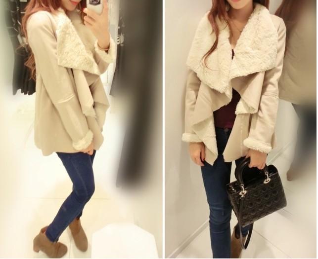 новый бренд bershka женщин серны большой отворот тонкий верхняя одежда из меха один кусок женщин Зимняя куртка Мех Кожа пальто размер с м