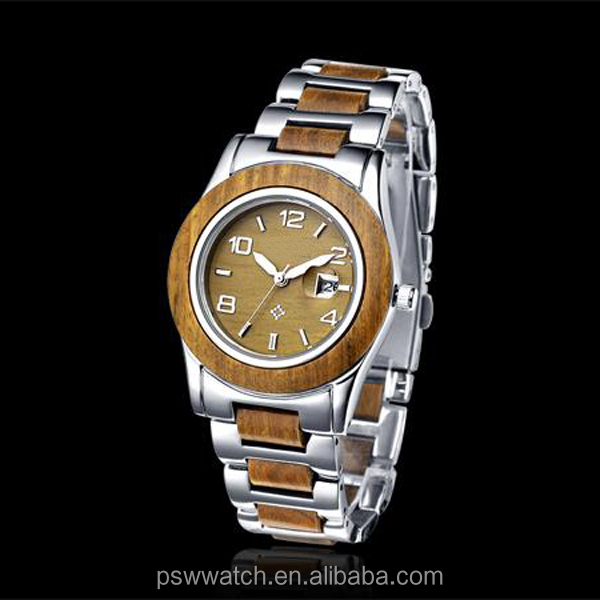 2015 High Quality Waterproof Wood Watch With Stainless Steel Wood Watch Men Wooden Watches