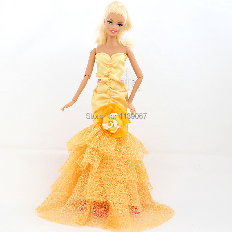 (Mix delivery)New 2014 Night Social gathering Yellow Gown Flower Lace Robe Princess Outfit Clothes For 1/6 Kurhn Barbie Doll