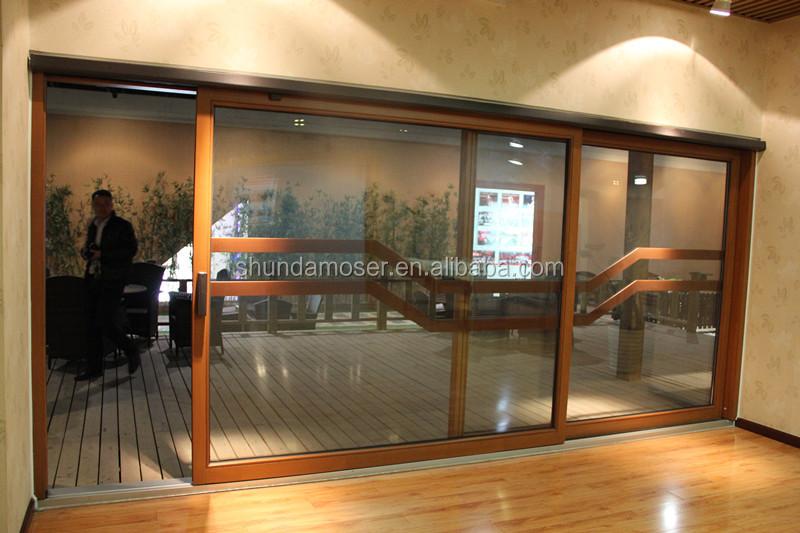 doble de aluminio revestido de madera puerta corredera de cristal