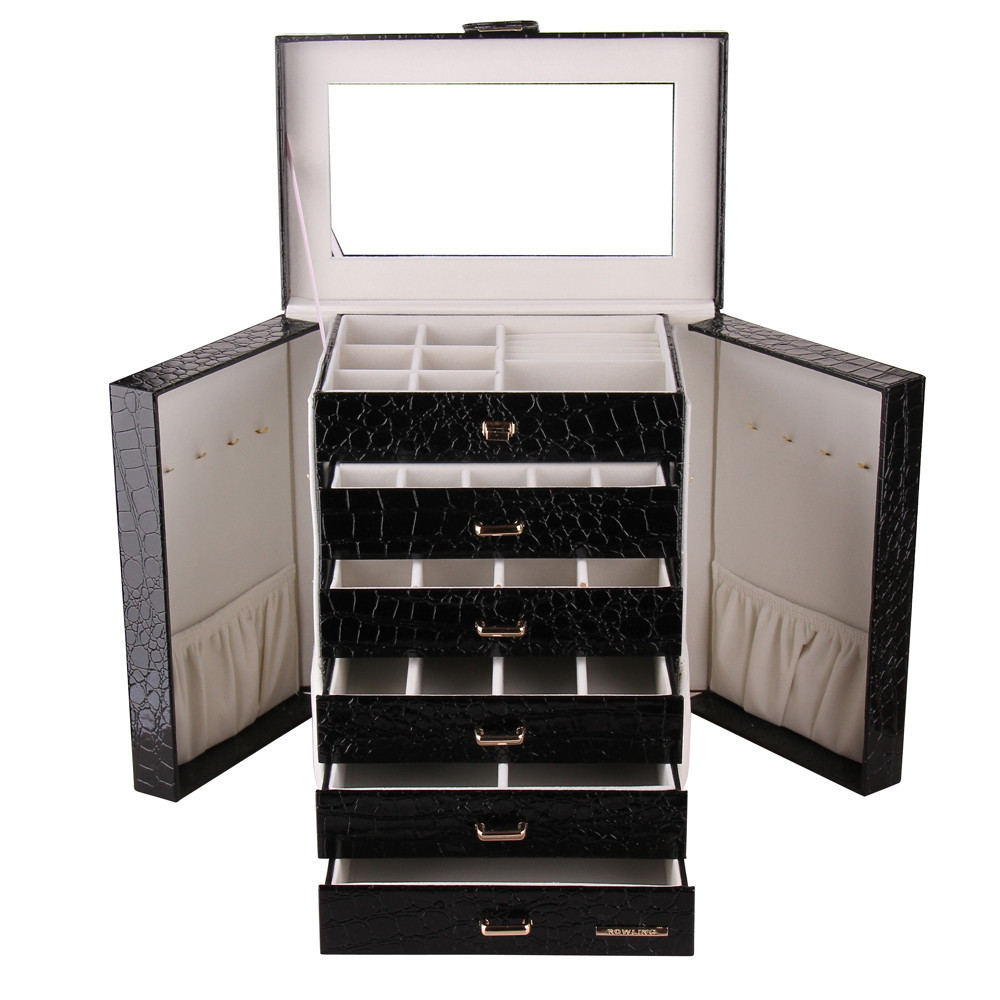 Extra Large Jewelry Box  Armoire Faux Leather