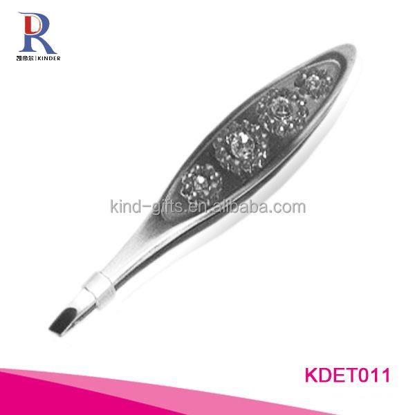 Wholesale Custom Logo Crystal Slanted Tweezers For Promotional Gift