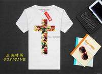 Летом прохладно euramerican любителей цветочный крест печати t рубашка США бренд высший мужчин slim fit короткие тройник уличной вершины