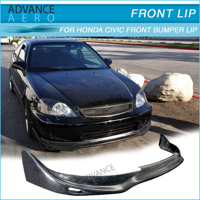 Pu Front Bumper Lip For 99 00 Honda Civic Ek Jun Style
