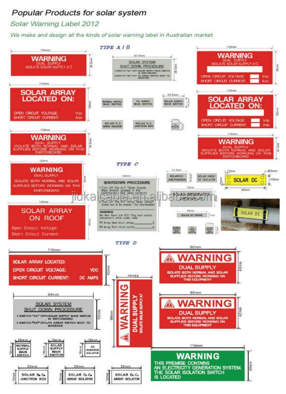 As Nzs 503323 23pcs Set Pv Solar Safety Warning Sticker