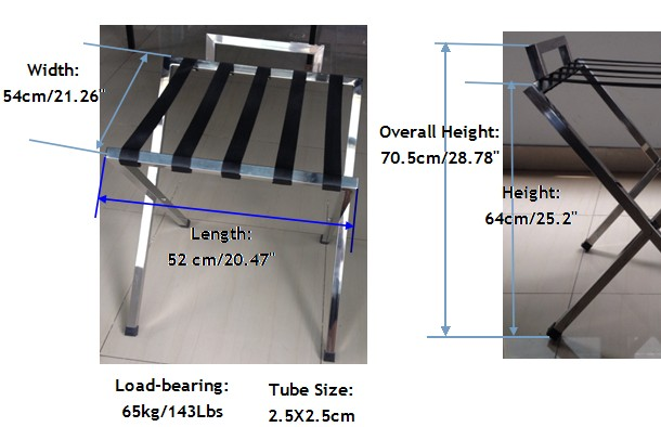 Guangzhou Stainless Steel Hotel Room Folding Luggage Rack